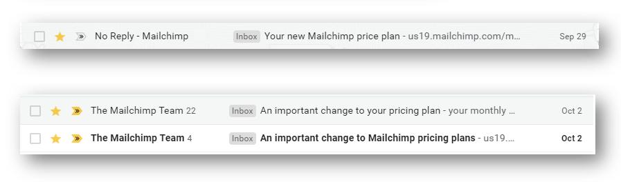 Mailchimp thay đổi bảng giá, tăng giá từ T10-2020-07