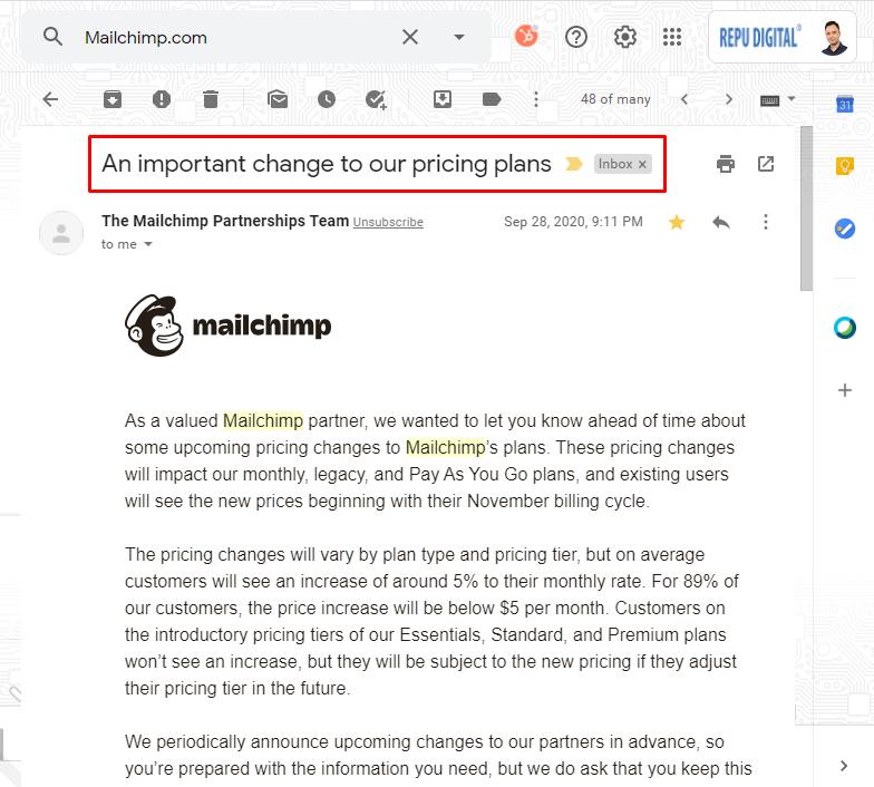 Mailchimp thay đổi bảng giá, tăng giá từ T10-2020-03